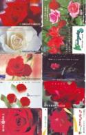 10 Télécartes - Prepaid Différentes JAPON * FLEURES * ROSES (LOT A-79) JAPAN 10 DIFF FLOWERS PHONECARDS * 10 VERSCH TK - Flores