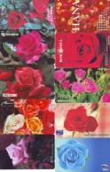 10 Télécartes - Prepaid Différentes JAPON * FLEURES * ROSES (LOT A-80) JAPAN 10 DIFF FLOWERS PHONECARDS * 10 VERSCH TK - Fiori