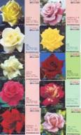 10 Télécartes - Prepaid Différentes JAPON * FLEURES * ROSES (LOT A-86) JAPAN 10 DIFF FLOWERS PHONECARDS * 10 VERSCH TK - Fleurs
