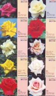 10 Télécartes - Prepaid Différentes JAPON * FLEURES * ROSES (LOT A-89) JAPAN 10 DIFF FLOWERS PHONECARDS * 10 VERSCH TK - Fleurs