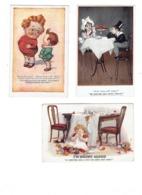 Lot 3 Cpa - Illustration Humour Repas Fillette Bouteille Vin Couteau SPURGIN  Mc Gill, Donald Garçon Gros Ventre Estomac - Mc Gill, Donald