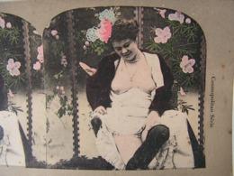 Photo Stereo Stereoscopique Erotique Pornographique Curiosa Femme Seins Nus Bas Lingerie Nude Tits - Stereoscopic