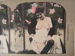 Photo Stereo Stereoscopique Erotique Pornographique Curiosa Femme Seins Nus Bas Lingerie Nude Tits - Photos Stéréoscopiques