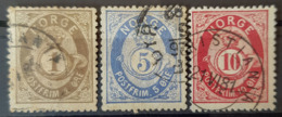 NORWAY 1877/78 - Canceled - Sc# 22, 24, 25 - 1o 5o 10o - Norvège