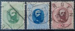 NORWAY 1878 - Canceled - Sc# 32, 33, 34 - 1K 1,5K 2K - Norvège