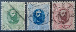 NORWAY 1878 - Canceled - Sc# 32, 33, 34 - 1K 1,5K 2K - Used Stamps