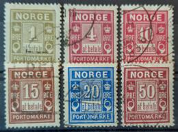 NORWAY 1889-1914 - Canceled - Sc# J1, J2, J3, J4, J5, J6 - Oblitérés