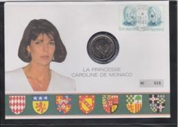 PRINCESSE GRACE COMMEMORATIVE COIN LETTER - MONACO 1993 Slania Engraved Stamp - Royalties, Royals