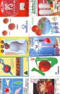 10 Télécartes - Prepaid Différentes JAPON *  APFEL * POMMES (LOT A-97) JAPAN 10 DIFF APPLES PHONECARDS * 10 VERSCH TK - Fleurs
