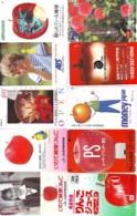 10 Télécartes - Prepaid Différentes JAPON *  APFEL * POMMES (LOT A-98) JAPAN 10 DIFF APPLES PHONECARDS * 10 VERSCH TK - Fleurs