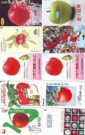 10 Télécartes - Prepaid Différentes JAPON *  APFEL * POMMES (LOT A-99) JAPAN 10 DIFF APPLES PHONECARDS * 10 VERSCH TK - Bloemen