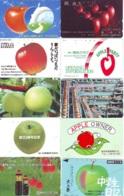 10 Télécartes - Prepaid Différentes JAPON *  APFEL * POMMES (LOT A-100) JAPAN 10 DIFF APPLES PHONECARDS * 10 VERSCH TK - Fiori
