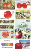 10 Télécartes - Prepaid Différentes JAPON *  APFEL * POMMES (LOT A-101) JAPAN 10 DIFF APPLES PHONECARDS * 10 VERSCH TK - Flores