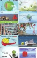 10 Télécartes - Prepaid Différentes JAPON *  APFEL * POMMES (LOT A-103) JAPAN 10 DIFF APPLES PHONECARDS * 10 VERSCH TK - Alimentazioni