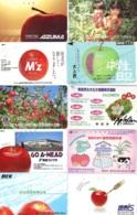 10 Télécartes - Prepaid Différentes JAPON *  APFEL * POMMES (LOT A-104) JAPAN 10 DIFF APPLES PHONECARDS * 10 VERSCH TK - Alimentazioni