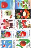10 Télécartes - Prepaid Différentes JAPON *  APFEL * POMMES (LOT A-105) JAPAN 10 DIFF APPLES PHONECARDS * 10 VERSCH TK - Alimentazioni