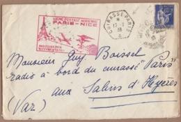 """INAUGURATION DE LA LIGNE POSTALE AÉRIENNE PARIS-NICE 1938.LETTRE ADRESSÉE AU RADIO A BORD DU CUIRASSE """"PARIS"""". - France"""