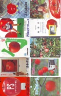 10 Télécartes - Prepaid Différentes JAPON *  APFEL * POMMES (LOT A-106) JAPAN 10 DIFF APPLES PHONECARDS * 10 VERSCH TK - Alimentazioni