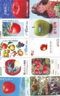 10 Télécartes - Prepaid Différentes JAPON *  APFEL * POMMES (LOT A-107) JAPAN 10 DIFF APPLES PHONECARDS * 10 VERSCH TK - Alimentazioni