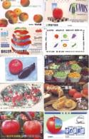 10 Télécartes - Prepaid Différentes JAPON *  APFEL * POMMES (LOT A-108) JAPAN 10 DIFF APPLES PHONECARDS * 10 VERSCH TK - Alimentazioni
