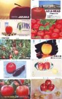 10 Télécartes - Prepaid Différentes JAPON *  APFEL * POMMES (LOT A-109) JAPAN 10 DIFF APPLES PHONECARDS * 10 VERSCH TK - Alimentazioni