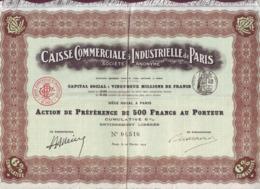 FRANCE- CAISSE COMMERCIALE ET INDUSTRIELLE DE PARIS - 500 F Au Porteur - 1914 - Industrie