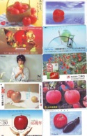 10 Télécartes - Prepaid Différentes JAPON *  APFEL * POMMES (LOT A-110) JAPAN 10 DIFF APPLES PHONECARDS * 10 VERSCH TK - Alimentazioni