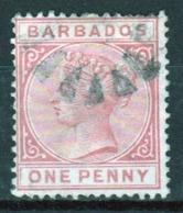 Barbados Queen Victoria Single One Penny Used Stamp. - Barbados (...-1966)