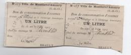 2 Bons De Consommation D'Essence/ Un Litre/ Ville De Montfort L'Amaury/ S & O /Brault / Etienbled/ 1917   POIL199 - 1914-18