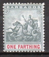 Barbados 1892 Queen Victoria Single One Farthing Stamp. - Barbados (...-1966)