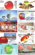 10 Télécartes - Prepaid Différentes JAPON *  APFEL * POMMES (LOT A-111) JAPAN 10 DIFF APPLES PHONECARDS * 10 VERSCH TK - Alimentazioni