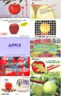 10 Télécartes - Prepaid Différentes JAPON *  APFEL * POMMES (LOT A-112) JAPAN 10 DIFF APPLES PHONECARDS * 10 VERSCH TK - Alimentazioni