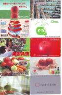 10 Télécartes - Prepaid Différentes JAPON *  APFEL * POMMES (LOT A-114) JAPAN 10 DIFF APPLES PHONECARDS * 10 VERSCH TK - Alimentazioni