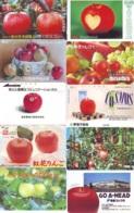 10 Télécartes - Prepaid Différentes JAPON *  APFEL * POMMES (LOT A-115) JAPAN 10 DIFF APPLES PHONECARDS * 10 VERSCH TK - Alimentazioni