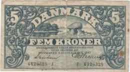 Dinamarca - Denmark 5 Kroner 1942 Pk 30 I.2 Firmas Svendesen Y Hellerung - Dinamarca