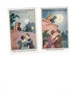 Lot 2 Cpa Illustration Humour DONALD MAC GILL - Chats Lune Femme Homme Amoureux Chapeau - Mc Gill, Donald