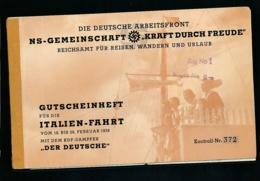 Kraft Durch Freude-Gutscheinheft -historisches Dokoment  (bg2656  ) Siehe Scan - Briefe U. Dokumente