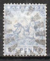 Barbados 1892 Queen Victoria Single 2½d Stamp. - Barbados (...-1966)