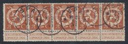 """Pellens - N°109 En Bande De 5 Obl Simple Cercle """"Spa"""" - 1912 Pellens"""
