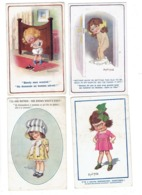Lot 4 Cpa Illustration Humour DONALD MAC GILL - Fillette Nue  Mode Chapeau Panty - Mauvaise Humeur - Mc Gill, Donald