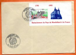 MAURY N° 2822  ( Cachet Concordant )  25 MONTBARD 1993  Lettre Entière N° OO 827 - Storia Postale
