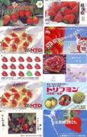 10 Télécartes - Prepaid Différentes JAPON * FRAISE (LOT A-117) JAPAN 10 DIFF STRAWBERRIES * PHONECARDS * 10 VERSCH TK - Alimentazioni