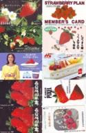 10 Télécartes - Prepaid Différentes JAPON * FRAISE (LOT A-119) JAPAN 10 DIFF STRAWBERRIES * PHONECARDS * 10 VERSCH TK - Alimentazioni
