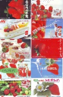 10 Télécartes - Prepaid Différentes JAPON * FRAISE (LOT A-120) JAPAN 10 DIFF STRAWBERRIES * PHONECARDS * 10 VERSCH TK - Lebensmittel