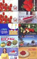 10 Télécartes - Prepaid Différentes JAPON * FRAISE (LOT A-122) JAPAN 10 DIFF STRAWBERRIES * PHONECARDS * 10 VERSCH TK - Alimentazioni