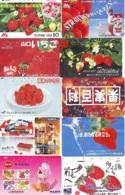 10 Télécartes - Prepaid Différentes JAPON * FRAISE (LOT A-123) JAPAN 10 DIFF STRAWBERRIES * PHONECARDS * 10 VERSCH TK - Alimentazioni