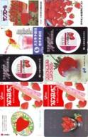 10 Télécartes - Prepaid Différentes JAPON * FRAISE (LOT A-125) JAPAN 10 DIFF STRAWBERRIES * PHONECARDS * 10 VERSCH TK - Alimentazioni