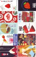 10 Télécartes - Prepaid Différentes JAPON * FRAISE (LOT A-126) JAPAN 10 DIFF STRAWBERRIES * PHONECARDS * 10 VERSCH TK - Alimentazioni