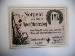 Deutschland Notgeld. ! Mark Ehrenfriedersdorf 01.08.21 - 1918-1933: Weimarer Republik