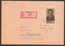 Germany Heinrich Heine Dichter Poet DDR FDC 1914, R-Brief Marke Aus Block 87, Berlin ZAW (190) - [6] Oost-Duitsland
